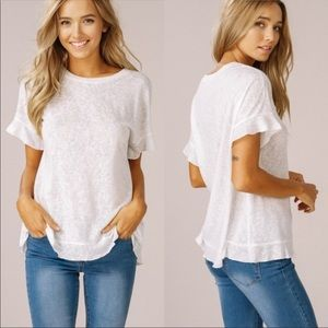 Tops - Off white flutter sleeve t-shirt
